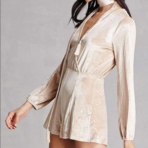 Champagne Long Sleeved Velvet Romper